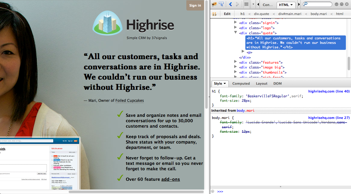 Highrise landing page BEFORE